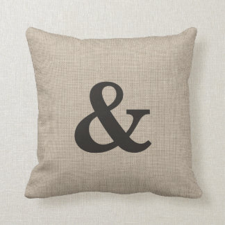 Burlap Ampersand Pillow