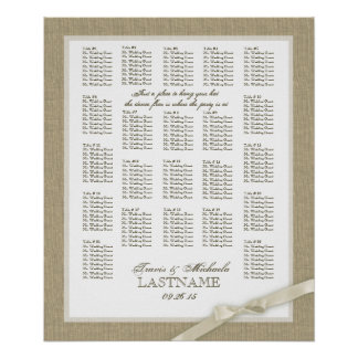 Burlap and Antique White Bow Wedding Seating Chart Posters