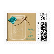 burlap and aqua rose mason jar wedding stamps