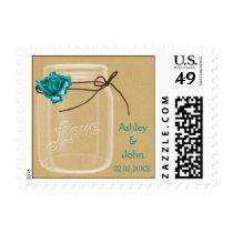 burlap and aqua rose mason jar wedding stamps