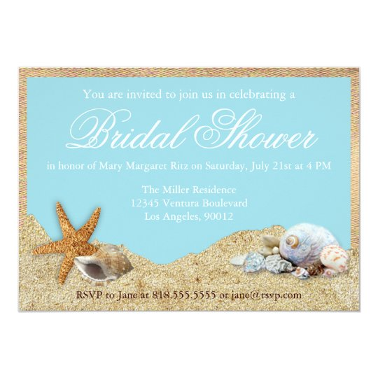 Burlap and Beach Bridal Shower Invitation Zazzlecom