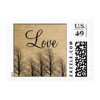 Burlap and Birch Posh Postage Stamp