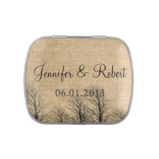 Burlap and Birch Posh Wedding Candy Tin