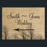 """Burlap and Birch Posh Wedding Direction Sign<br><div class=""""desc"""">This rustic but elegant design, called Burlap and Birch Posh Wedding, has a beautiful country chic inspired design. The background is a creamy beige color with a burlap pattern. At the bottom there are several birch trees with no leaves, perfect for a winter wedding. Please email me for matching designs...</div>"""