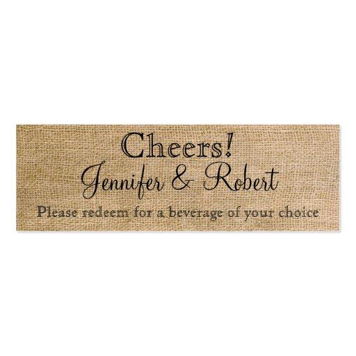 Burlap and Birch Posh Wedding Drink Tickets Business Cards