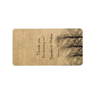 Burlap and Birch Posh Wedding Lip Balm Label