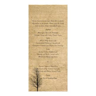 Burlap and Birch Posh Wedding Menu Rack Card Template