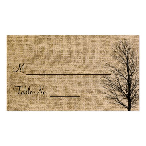 Burlap and Birch Posh Wedding Place Cards Business Card Template