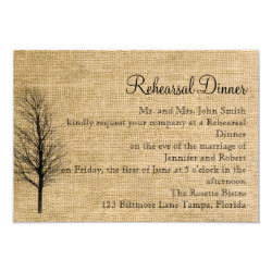 Burlap and Birch Posh Wedding Rehearsal 3.5x5 Paper Invitation Card