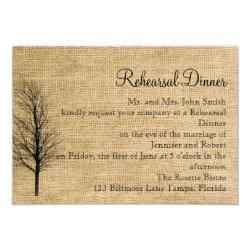 Burlap and Birch Posh Wedding Rehearsal 3.5x5 Paper Invitation Card