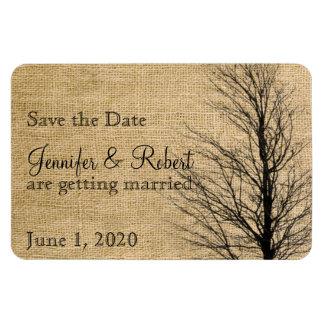 Burlap and Birch Posh Wedding Save the Date Rectangular Photo Magnet