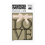 Burlap and Blush Bow Love Postage Stamp