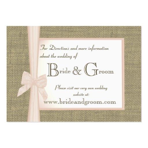 Burlap and Blush Bow Wedding Web Info Business Card