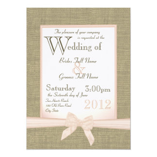 Burlap and Bow Blush Country Wedding 5.5x7.5 Paper Invitation Card