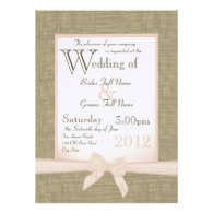 Burlap and Bow Blush Country Wedding Custom Announcements