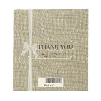 Burlap and Bow Candy Bar Favor Notepad