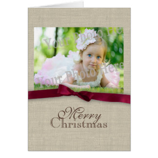 Burlap and Bow Christmas Photo Cards