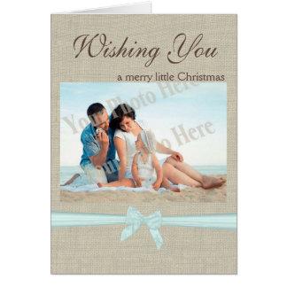 Burlap and Bow Christmas Photo Greeting Card