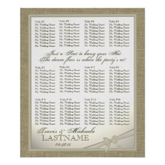 Burlap and Bow Look Wedding Guest Seating Chart Poster