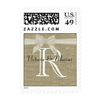Burlap and Bow Monogram Love Stamps