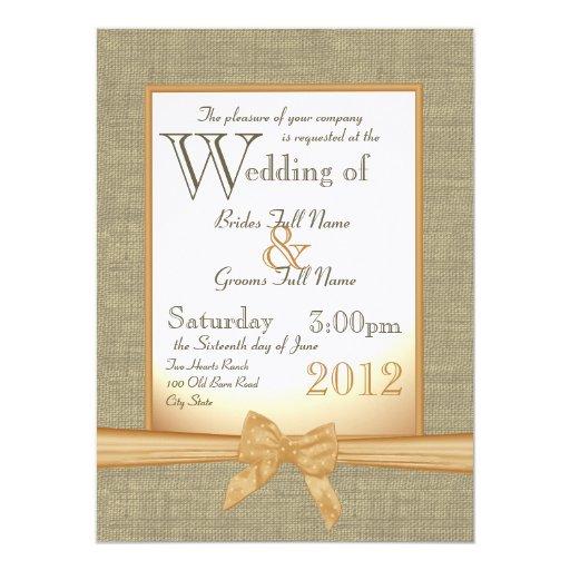 "Burlap and Bow Orange Country Wedding 5.5"" X 7.5"" Invitation Card"