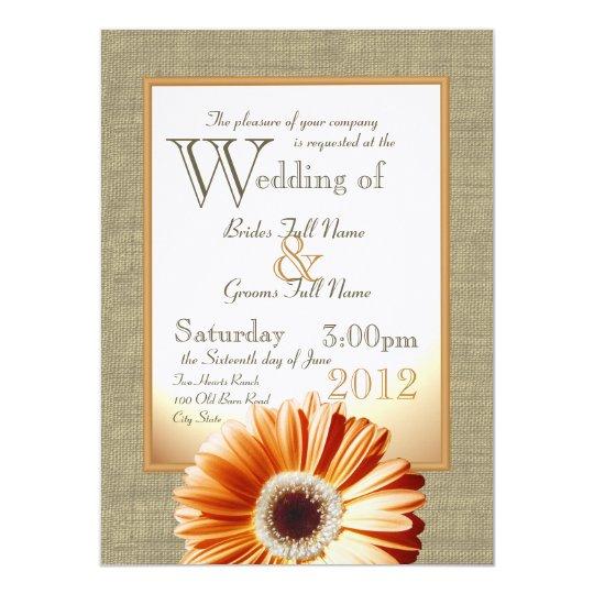 Gerbera Wedding Invitations: Burlap And Bow Orange Gerbera Daisy Wedding Invitation