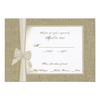 "Burlap and Bow Response Card 3.5"" X 5"" Invitation Card"