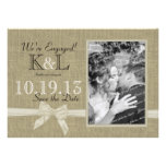 Burlap and Bow Rustic Country Save the Date Announcement