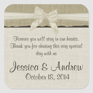 Burlap and Bow Rustic Country Square Stickers