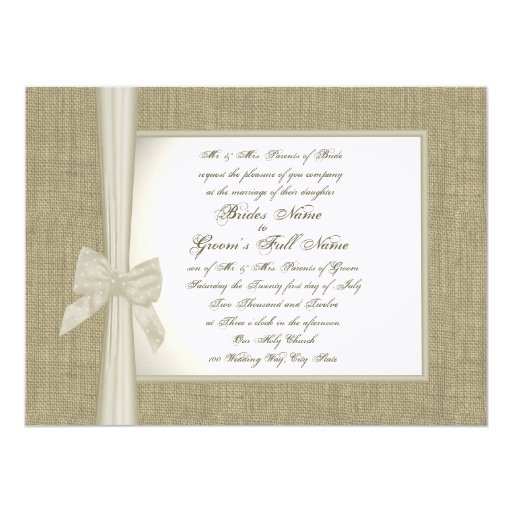 Burlap and Bow Rustic Wedding 5.5x7.5 Paper Invitation Card