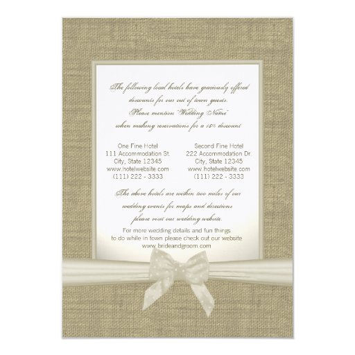 Burlap and Bow Rustic Wedding Accommodations Card