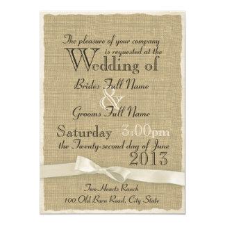 Burlap and Bow Rustic Wedding Lite 5x7 Paper Invitation Card