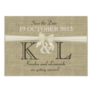 Burlap and Bow Save the Date 4.5x6.25 Paper Invitation Card
