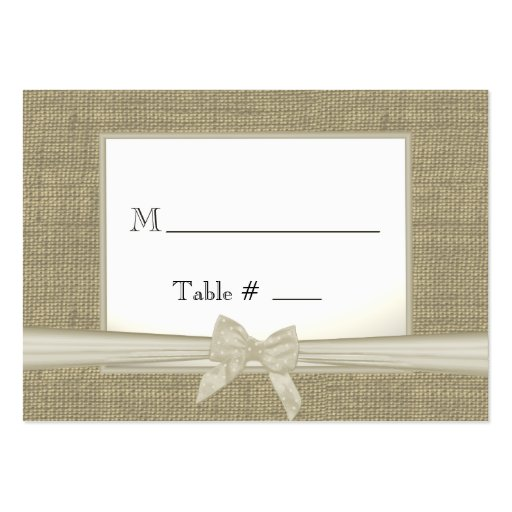 Burlap and Bow Seating Cards Business Cards