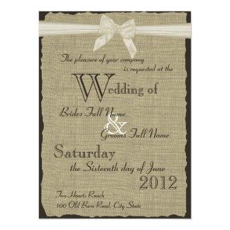 Burlap and Bow Wedding Card