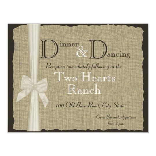Burlap and Bow Wedding Rustic Reception Card