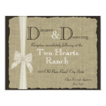 Burlap and Bow Wedding Rustic Reception Custom Announcement