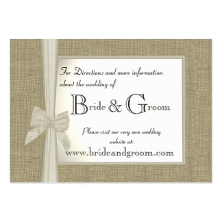 Burlap and Bow Wedding Web Info Large Business Cards (Pack Of 100)