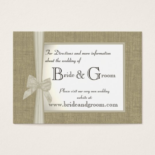 Burlap and Bow Wedding Web Info Business Card