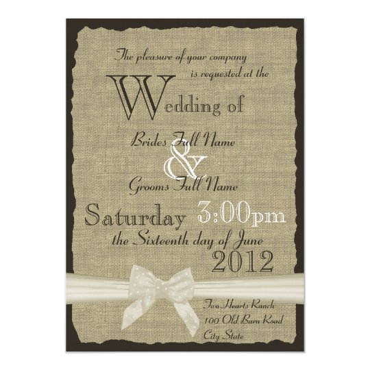 Burlap and Bows 5x7 Rustic Wedding Card