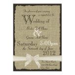 Burlap and Bows 5x7 Rustic Wedding Invitations
