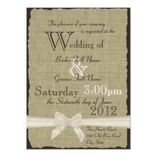 Burlap and Bows Rustic Wedding 5.5x7.5 Paper Invitation Card