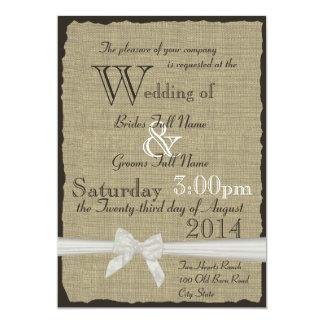 Burlap and Bows Rustic Wedding 5x7 Paper Invitation Card