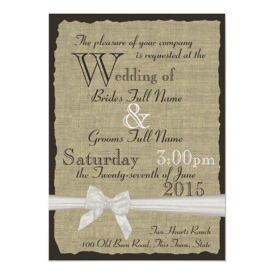 Burlap and Bows Rustic Wedding Card