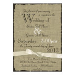 Burlap and Bows Rustic Wedding Personalized Invitation