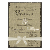Burlap and Bows Rustic Wedding Personalized Announcement