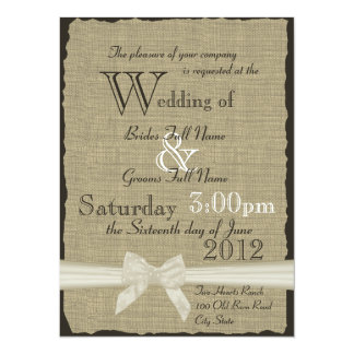 Burlap and Bows Rustic Wedding 5.5x7.5 Paper Invitation Card