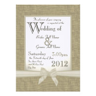Burlap and Bows Wedding Personalized Invite