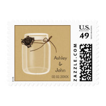 burlap and brown rose mason jar wedding stamps