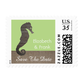 Burlap And Clay Seahorse Postage Stamp